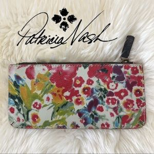 Patricia Nash Colorful Leather Floral Clutch White